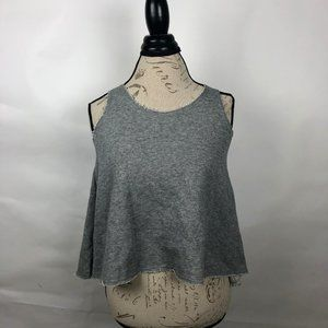 Lily White Gray Crop Top w/White Crochet Sz XS